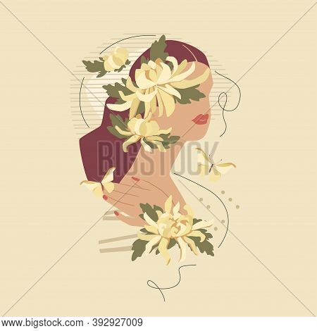 Beautiful Woman With Chrysanthemums And Butterflies. Vector Fashion Vintage Style Illustration Isola