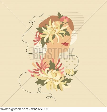 Collage Of Beautiful Woman With Chrysanthemums Over Modern Abstract Shapes. Vector Fashion Vintage S