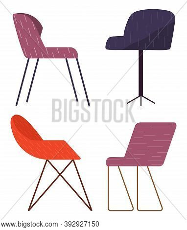 Set Of Vector Chairs Of Different Colors And Shapes. Cartoon Flat Illustration Furniture Element. Co