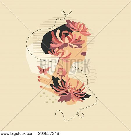 Beautiful Woman With Chrysanthemums And Butterfly. Vector Fashion Vintage Style Illustration Isolate