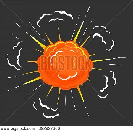Fireball Explosion Isolated Icon Of Abstract Shape With Fire And Smoke. Dust And Flames And Fume In
