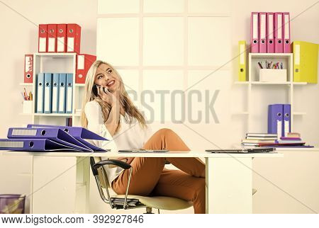 Solve Personal Affairs At Workplace. Accounting Paper Documents Files. Business Woman Work In Office