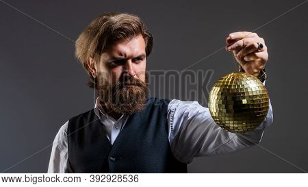 Time For Party. Super Cool Disco Club. Brutal Mature Hipster. Man With Beard Hold Mirror Disco Ball.