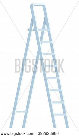 Step-ladder Symbol On White, Metal Ladder, Up Tool. Growth Instrument With Steps, Staircase Icon, St