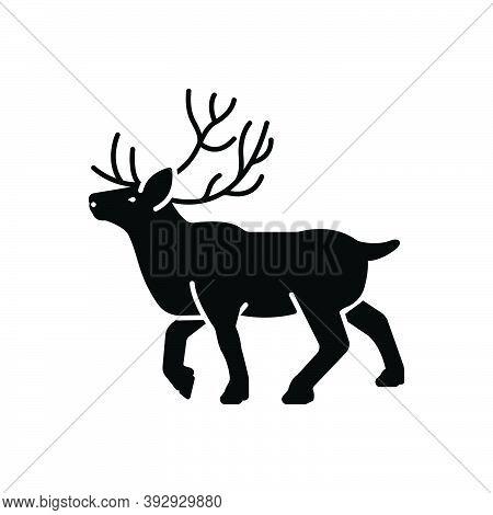 Black Solid Icon For Reindeer Stag Horned Antler Herbivores Nature Animal Jungle Wildlife Zoo