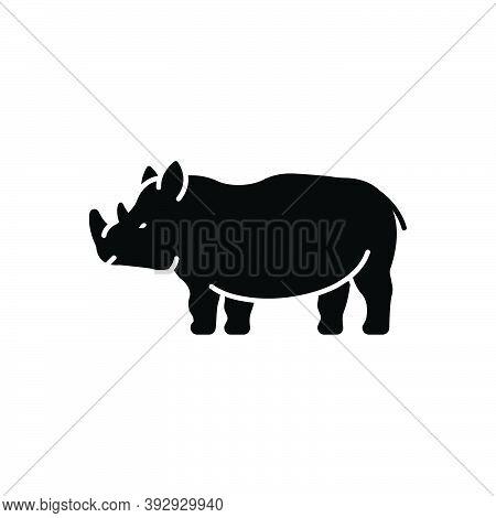 Black Solid Icon For Rhinoceros-saurus Endangered Dangerous Herbivores Nature Animal Jungle Wildlife