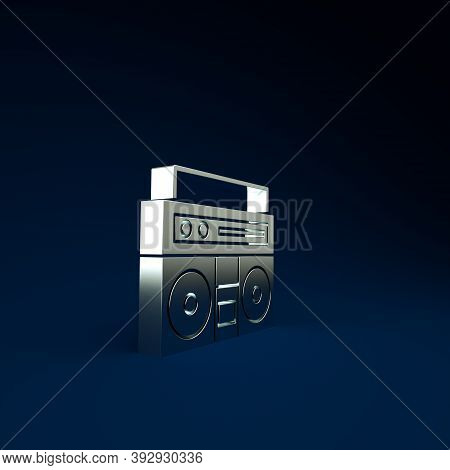 Silver Home Stereo With Two Speakers Icon Isolated On Blue Background. Music System. Minimalism Conc