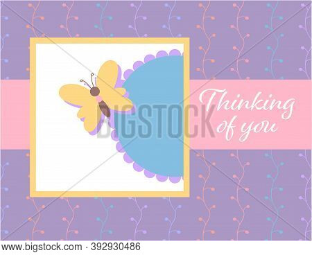Design Template For Cute Think Of You Card . Template For Scrapbooking With Hand Drawn Doodle Patter