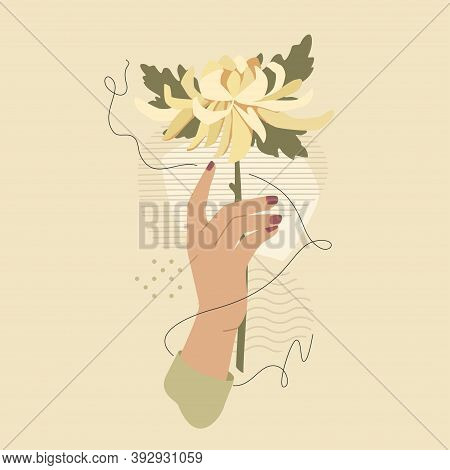 Hand With Chrysanthemum Flower Over Modern Abstract Shapes. Vector Fashion Vintage Style Illustratio