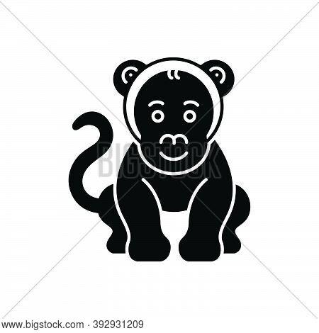 Black Solid Icon For Monkey Lemur Chimpanzee Omnivores Ape Naughty Animal Jungle Wildlife Zoo