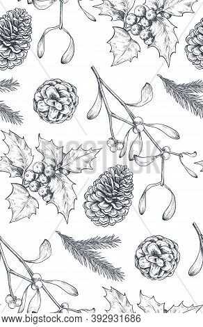 Vector Seamless Pattern With Christmas Floral Elements, Plants, Branches, Pine Cones.
