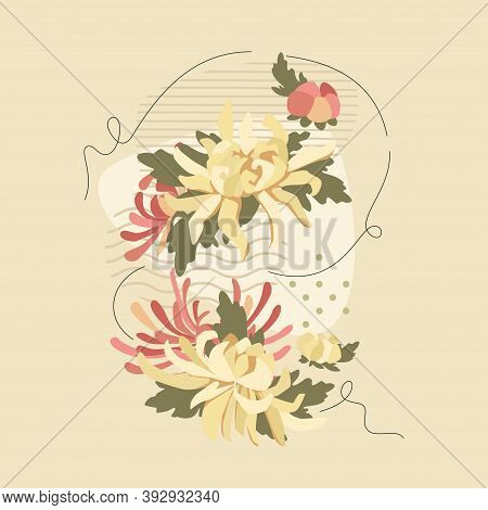 White And Pink Chrysanthemums And Abstract Composition. Vector Floral Tender Design For Romantic Inv