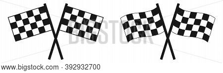 Checkered Racing Flag. Isolated Finish Flag On White Background. Formula Racing Symbol. Competition
