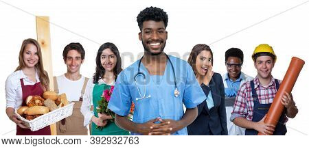 Young African American Male Nurse With Group Of International Apprentices Isolated On White Backgrou