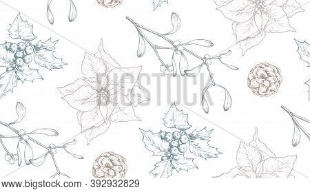 Vector Seamless Pattern With Christmas Floral Elements, Plants, Branches, Pine Cones, Poinsettia.