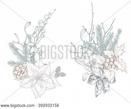 Vector Christmas Floral Arrangements For Greeting Card Or Invitation With Hand Drawn Winter Plants,