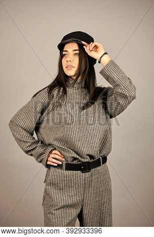 Fashionable Knitwear. Knitwear Concept. Feel Comfortable. Woman Wear Grey Suit Blouse And Pants. Sho