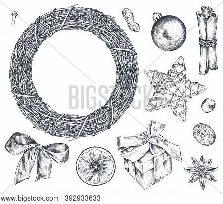 Collection Of Christmas Objects - Wreath, Star, Gift Box, And Citrus Fruit.