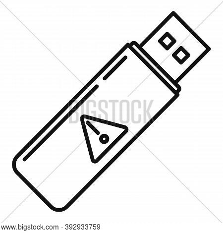 Fraud Usb Flash Icon. Outline Fraud Usb Flash Vector Icon For Web Design Isolated On White Backgroun