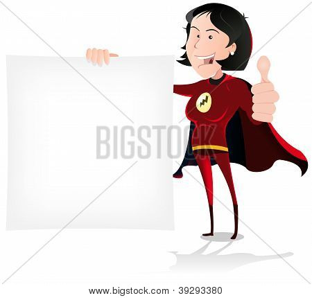 Super Girl Hero Holding White Sign