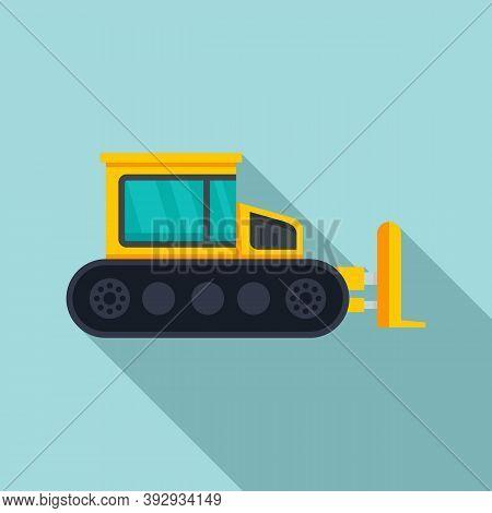 Contruction Bulldozer Icon. Flat Illustration Of Contruction Bulldozer Vector Icon For Web Design