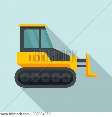 Heavy Bulldozer Icon. Flat Illustration Of Heavy Bulldozer Vector Icon For Web Design