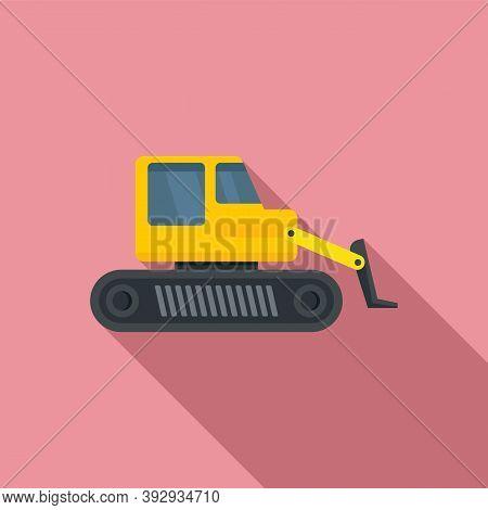Machine Bulldozer Icon. Flat Illustration Of Machine Bulldozer Vector Icon For Web Design