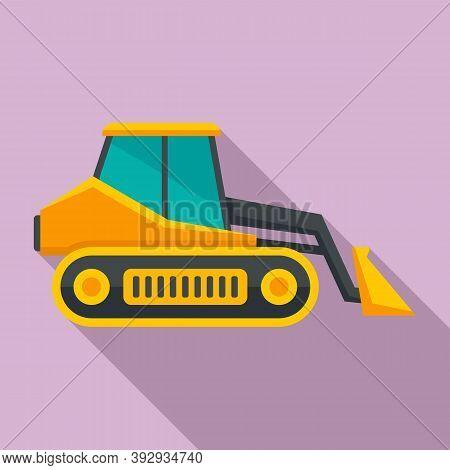Loader Bulldozer Icon. Flat Illustration Of Loader Bulldozer Vector Icon For Web Design