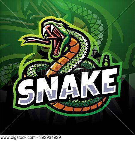 Snake Esport Mascot Logo Design With Text