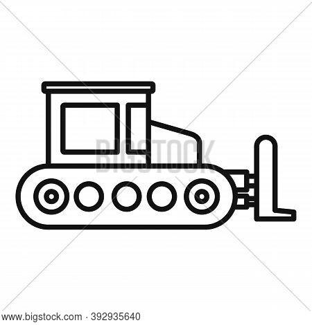 Contruction Bulldozer Icon. Outline Contruction Bulldozer Vector Icon For Web Design Isolated On Whi
