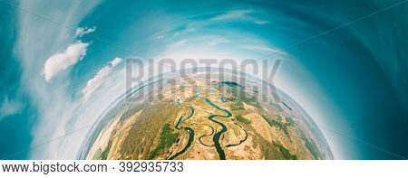 Aerial View Green Forest Woods And River Landscape In Sunny Spring Day. Top View Of Beautiful Europe