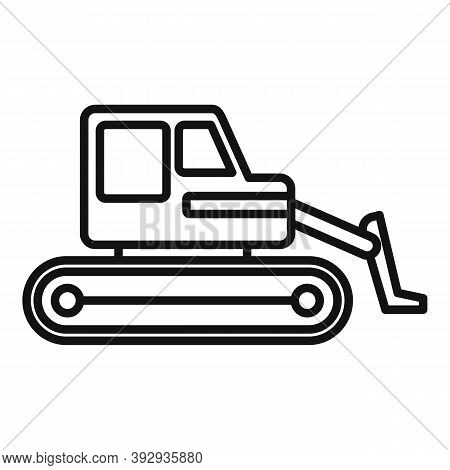 Machine Bulldozer Icon. Outline Machine Bulldozer Vector Icon For Web Design Isolated On White Backg