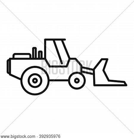 Machinery Bulldozer Icon. Outline Machinery Bulldozer Vector Icon For Web Design Isolated On White B