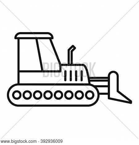 Job Bulldozer Icon. Outline Job Bulldozer Vector Icon For Web Design Isolated On White Background