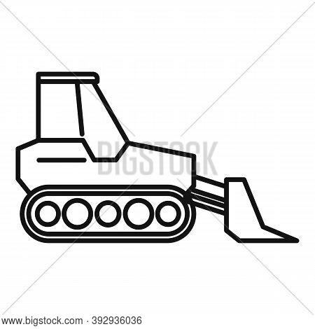Front Bulldozer Icon. Outline Front Bulldozer Vector Icon For Web Design Isolated On White Backgroun