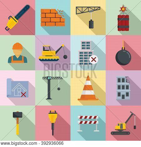 Demolition Work Icons Set. Flat Set Of Demolition Work Vector Icons For Web Design
