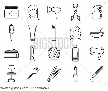Hair Stylist Icons Set. Outline Set Of Hair Stylist Vector Icons For Web Design Isolated On White Ba