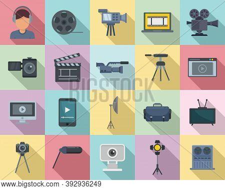 Cameraman Icons Set. Flat Set Of Cameraman Vector Icons For Web Design