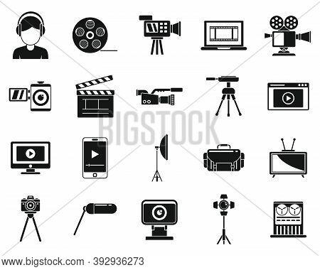 Broadcasting Cameraman Icons Set. Simple Set Of Broadcasting Cameraman Vector Icons For Web Design O