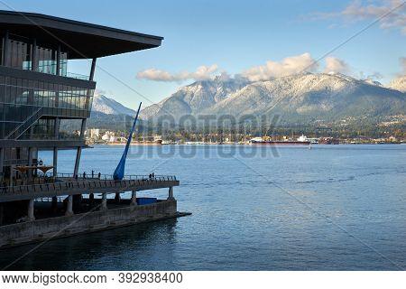 North Vancouver Burrard Inlet Fresh Snow. Fresh Snow On The Mountains And North Vancouver Across Bur