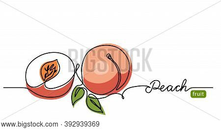 Peach Simple Vector Illustration. One Continuous Line Drawing Art Illustration With Lettering Peach