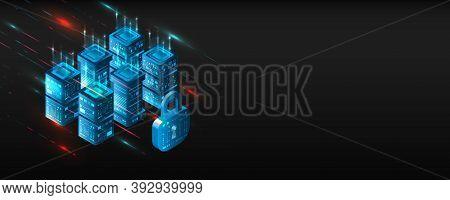 Modern Concept Big Data Computing. Isometric Futuristic Technology Of Data Protection. 3d Data Cente