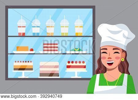 Portrait Of Smiling Happy Woman Cook Wearing Cook Hat And Apron Near Fridge With Desserts, Drinks. D