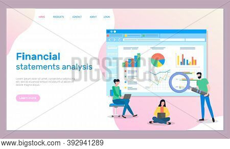 Financial Statements Analysis. Man With Magnifying Glass Searching, Analysing Statistics, Graphics,