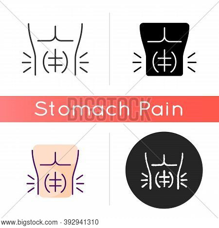 Abdominal Muscle Strain Icon. Full Rupture. Mild Stretch. Pulled Stomach Muscle. Tear. Injury. Stren
