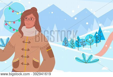 Female Character On Vacation In Winter Park Decorated For Christmas And Holidays. Woman Wearing Warm