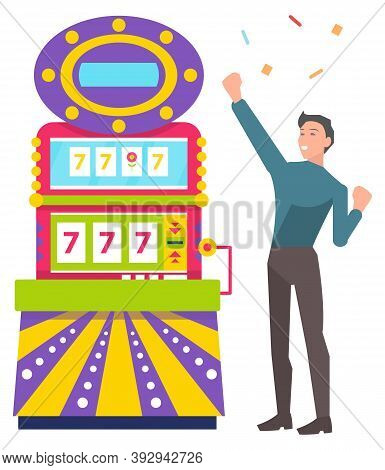 Young Man Playing Colorful Slot Machine. Lucky Male Gambler Taking Risks And Winning Money. Lucky Se