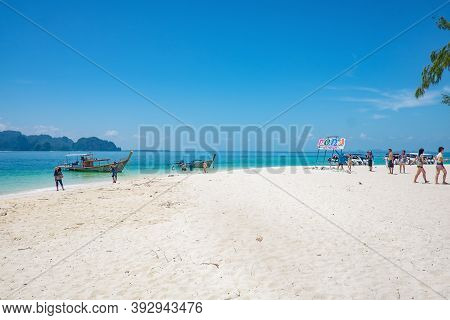 Krabi/thailand- 23 Jun 2017:beautiful Idyllic Seascape And White Sand On Koh Poda Island Krabi City