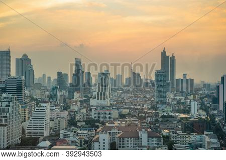 Bangkok/thailand-10 Jan 2020:pm 2.5 Air Pollution Of Bangkok City Thailand.bangkok City The Capital