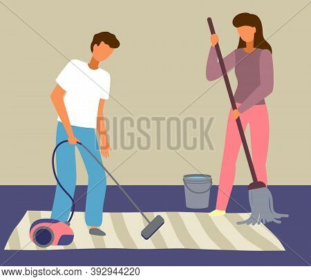 Cartoon Male Character With Vacuum Cleaner, Female Character With Round Mop, Bucket Of Water. Marrie